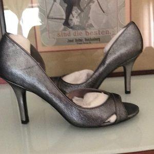 Ann Taylor silver fabric Dorsay heels